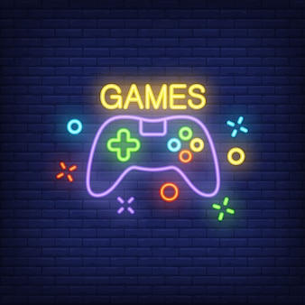 Console with Games lettering. Neon sign on brick background.