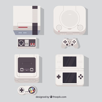 Consoles set in flat design