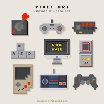 Consoles set in pixel art style