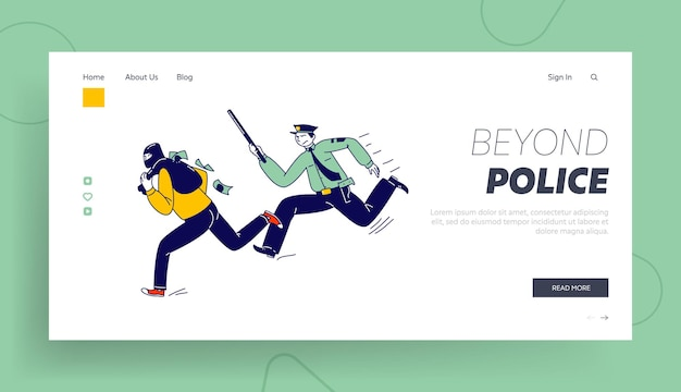 Constable character pursuit and fight with criminal landing page template.