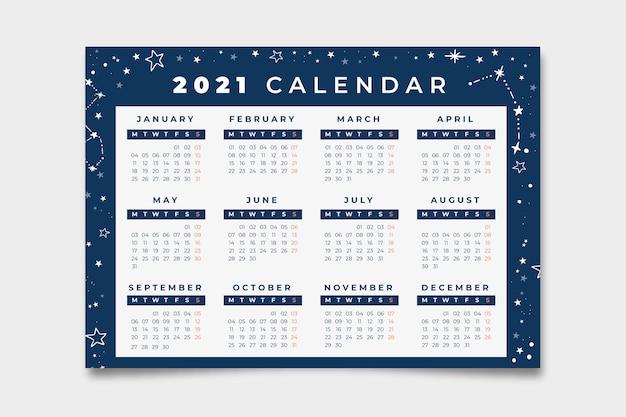 星座の背景の青いカレンダー