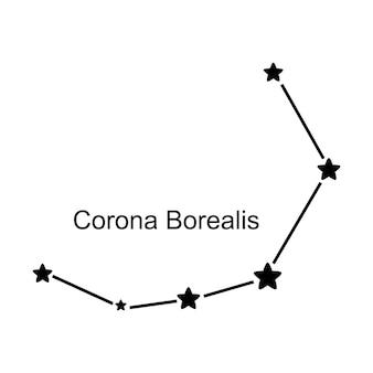 白い背景の上の星座かんむり座、ベクトル図