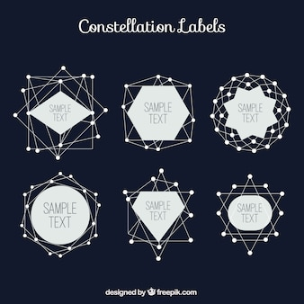 Constellation labels set in geometric style
