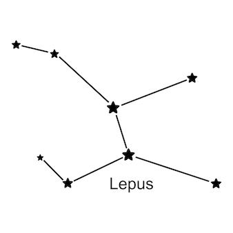 白い背景の上の星座うさぎ座、ベクトル図