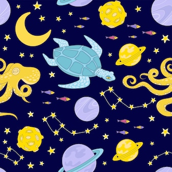 Constellation space animal cartoon planet cosmos galactic universe journey traveling seamless pattern vector illustration for print