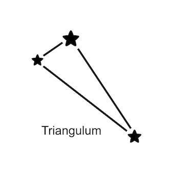 白い背景の上の星座さんかく座、ベクトル図