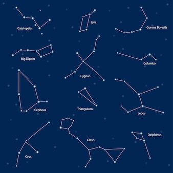 별자리: 카시오페이아, 북두칠성, 세페우스, 거문고, 두루미, 고니, 삼각형, 고래류, 코로나 보리 얼리스, 콜럼바, 문둥병, delphinus, 벡터 일러스트 레이 션