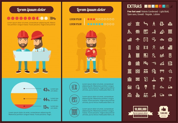 Constraction flat design infographic template and icons set