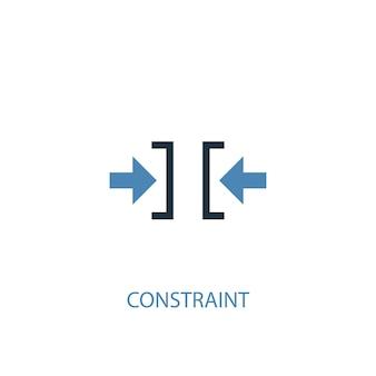 制約の概念2色のアイコン。シンプルな青い要素のイラスト。制約コンセプトシンボルデザイン。 webおよびモバイルui / uxに使用できます