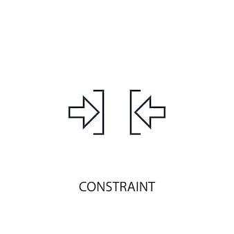 制約の概念線アイコン。シンプルな要素のイラスト。制約概念概要シンボルデザイン。 webおよびモバイルui / uxに使用できます