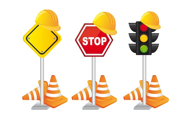 Construciton signs with helmet over white background vector