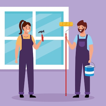 Constructer woman and painter man