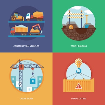 Constructing, industry of building and development set for web  and mobile apps. illustration for construction vehicles, tench digging, crane work and loads lifting.