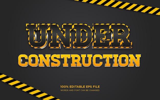 Under construction 3d editable text style effect