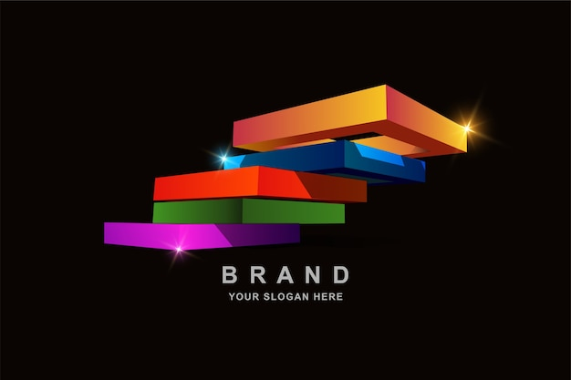 Construction 3d frame square or stairs logo design