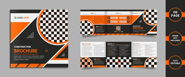 Construction 6 page square trifold brochure design template with multi shapes