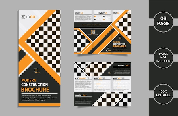 Construction 6 page trifold brochure design template with yellow and black color geometric shapes