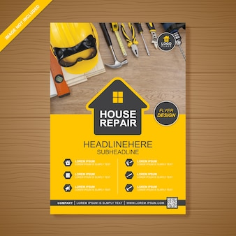 Construction a4 flyer design template for printing