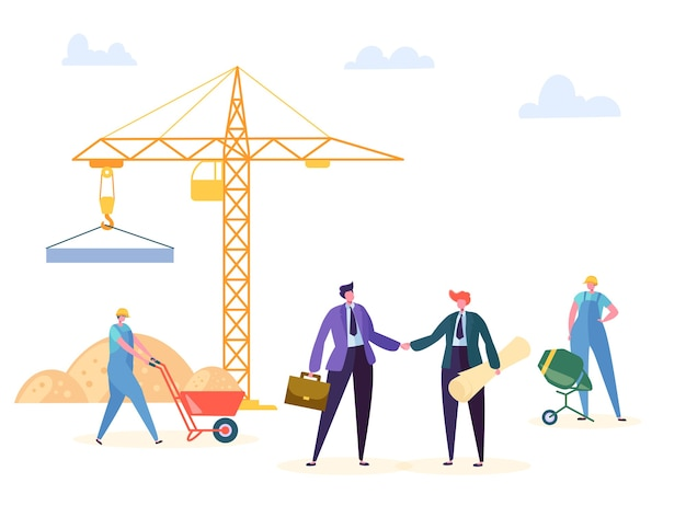 Construction agreement handshake illustration