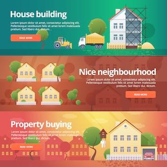 건설 및 건물의 세트. 부동산 구매, 이웃, 주택 건설, 부동산을 주제로 한 삽화.