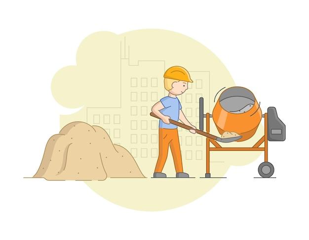 建設と重労働とセメント作業の概念。保護ユニフォームとミキサーでコンクリートを混合するヘルメットの労働者。仕事中の建設労働者。
