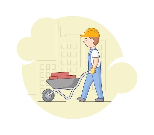 建設と重労働のコンセプト。手押し車にレンガを運ぶ保護服とヘルメットの労働者。仕事中の建設労働者。
