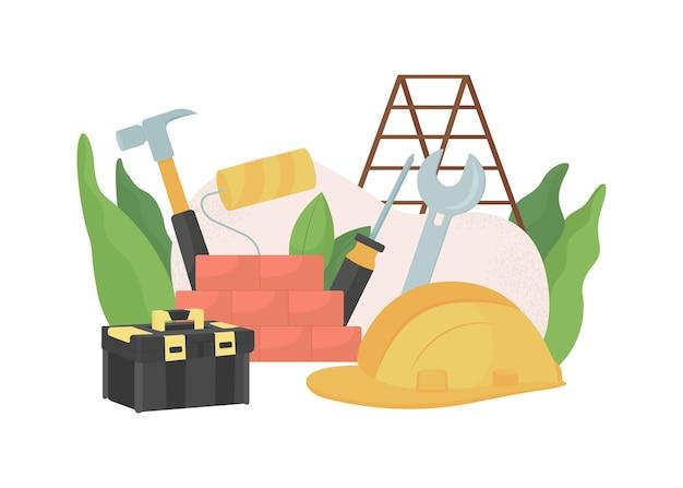 建設と住宅改修フラットコンセプトイラスト