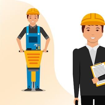 Construction architect blueprint and worker jackhammer vector illustration