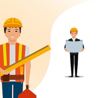 Construction architect with blueprint and worker ruler toolbox vector illustration