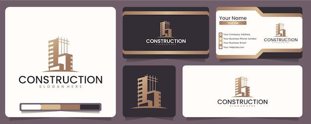 建設、建築家、レイアウト、近代的な建物、建物や建築家の分野の企業向け、ロゴデザインのインスピレーション