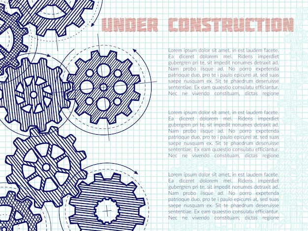 Under construction  background with hand drawn gears on notebook page