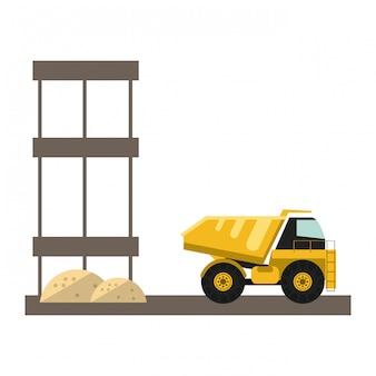 Construction backhoe isolated