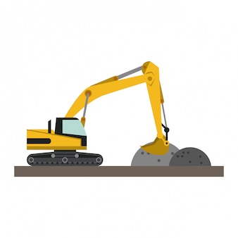 Construction backhoe loading gravel