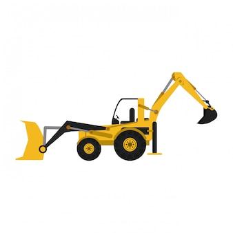 Construction backhoe vehicle