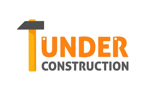Under construction banner vector flat carton sign illustration isolated on white image