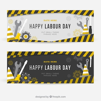 Construction banners of labor day
