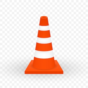 Under construction barrier. realistic traffic cone.