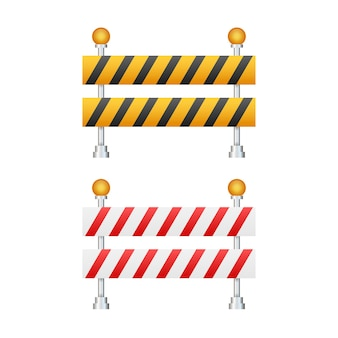 Under construction barrier. road closed on white background. fence of building or repair works sign. vector stock illustration