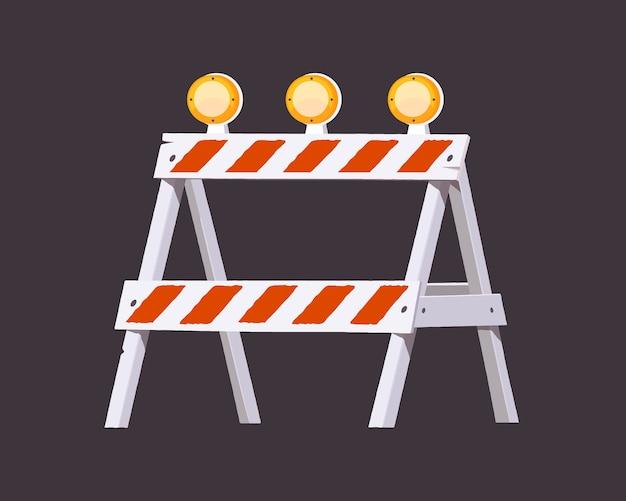 Under construction barrier. warning barrier .  illustration.