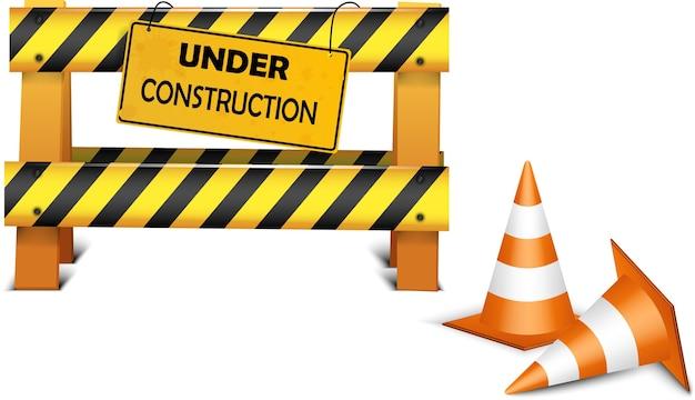 Under construction barrier over white background