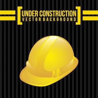 Under construction over black background