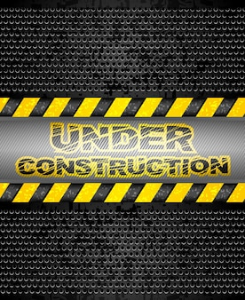 Under construction, black metallic background. vector 10eps