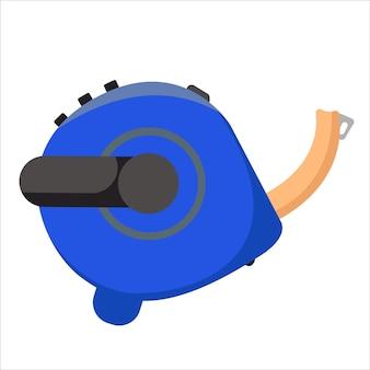 Строительная синяя рулетка крупным планом векторные иллюстрации в плоском стиле
