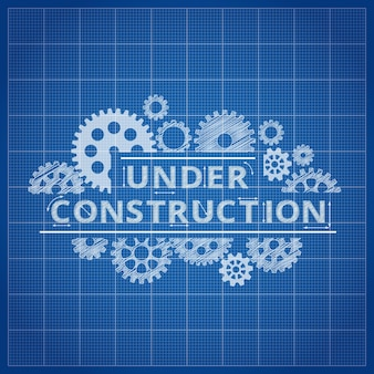 Under construction blueprint background