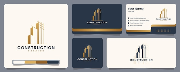 Construction , builder , building ,gold color ,banner and business card , logo design inspiration