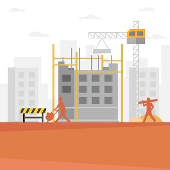 Construction builder cartoon