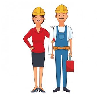Construction builder couple cartoon