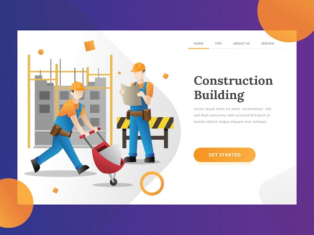 Construction builder landing page