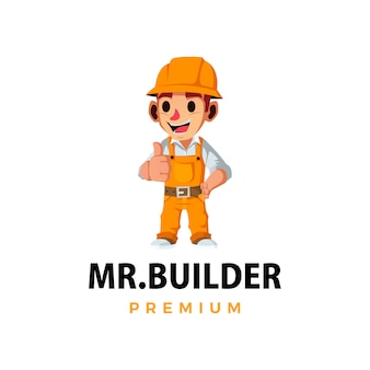 Construction builder thumb up mascot character logo  icon illustration