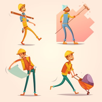 Construction builder worker in yellow uniform helmet at work cartoon retro icons set
